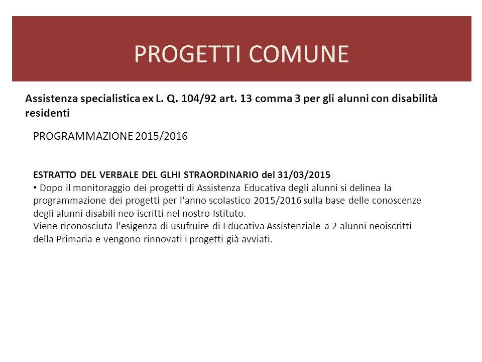 PROGETTI COMUNE Assistenza specialistica ex L. Q. 104/92 art. 13 comma 3 per gli alunni con disabilità residenti.