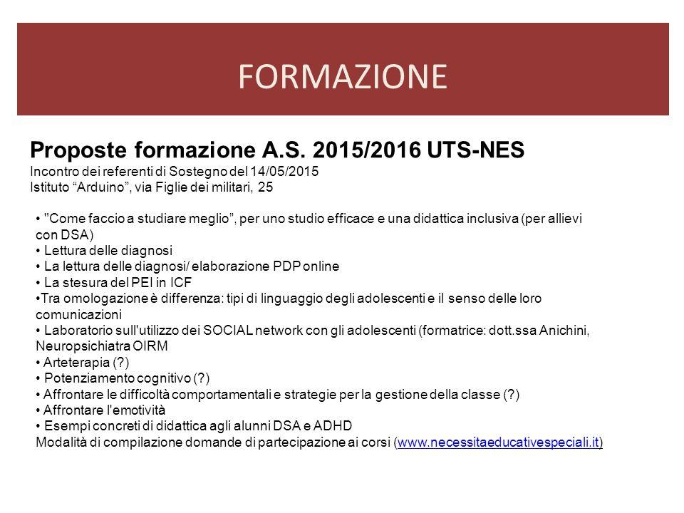 FORMAZIONE Proposte formazione A.S. 2015/2016 UTS-NES