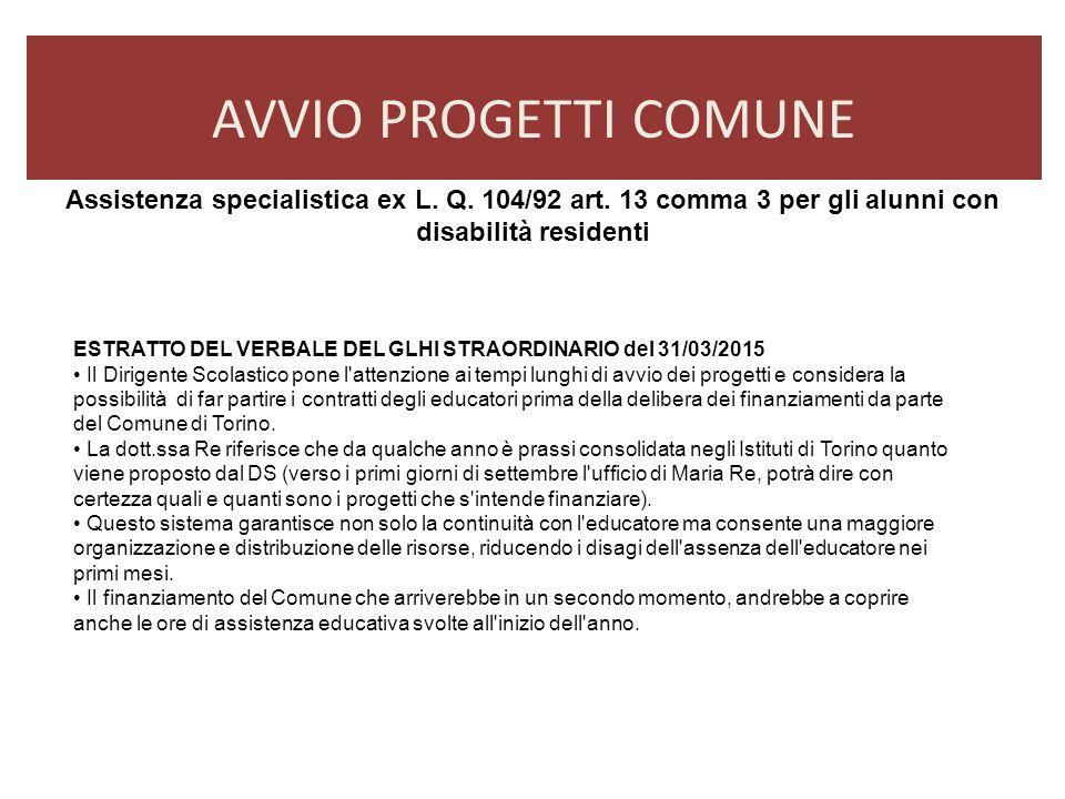 AVVIO PROGETTI COMUNE Assistenza specialistica ex L. Q. 104/92 art. 13 comma 3 per gli alunni con disabilità residenti.
