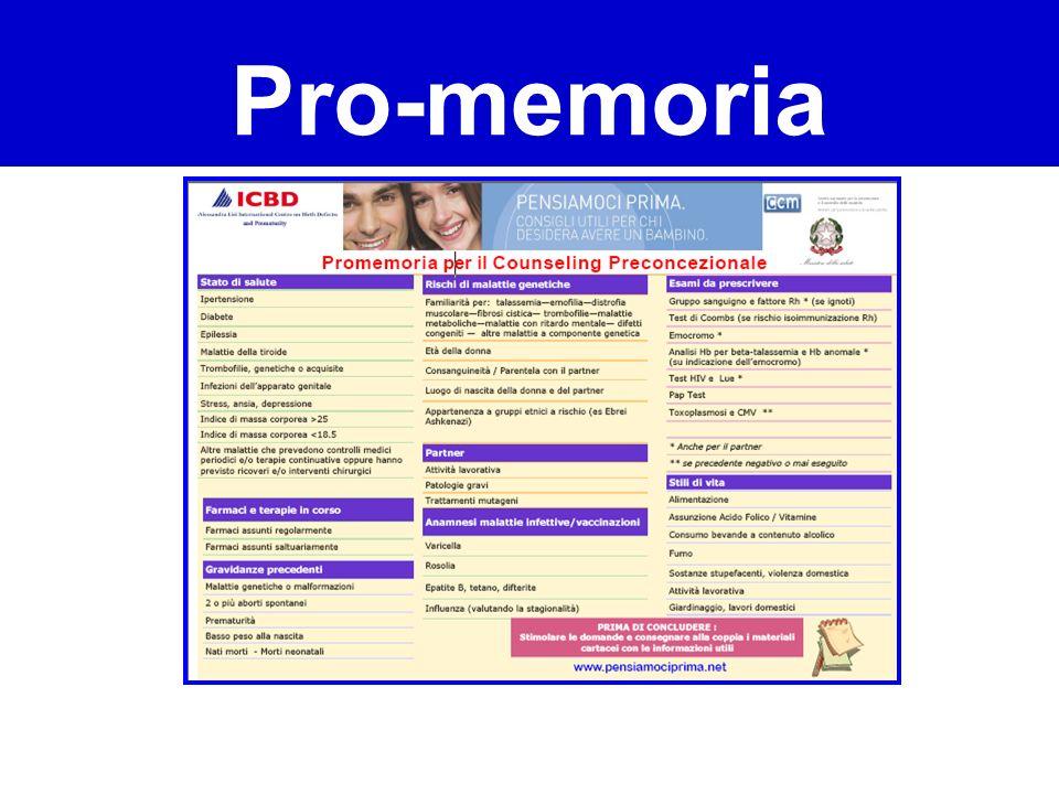Pro-memoria Corso sul Counseling Preconcezionale