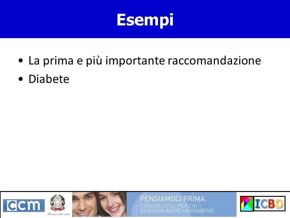 Esempi La prima e più importante raccomandazione Diabete