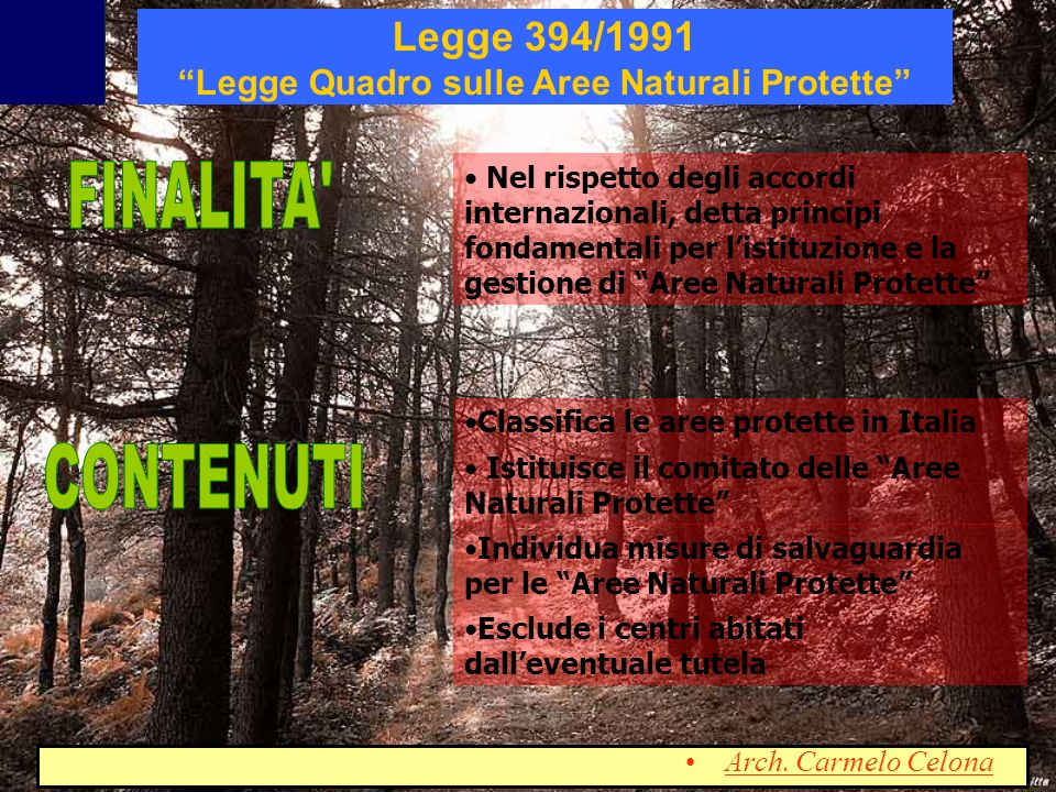 Legge 394/1991 Legge Quadro sulle Aree Naturali Protette
