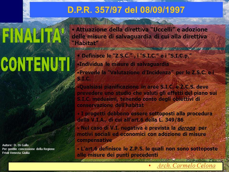 FINALITA CONTENUTI D.P.R. 357/97 del 08/09/1997