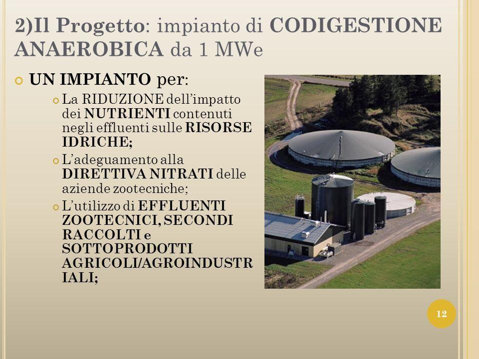 2)Il Progetto: impianto di CODIGESTIONE ANAEROBICA da 1 MWe