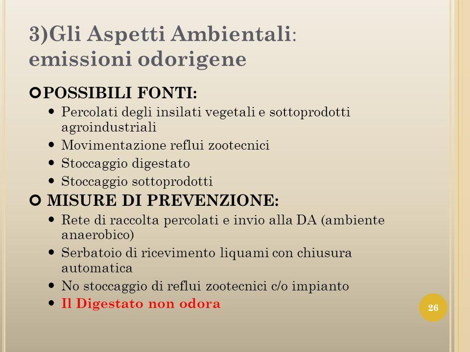 3)Gli Aspetti Ambientali: emissioni odorigene