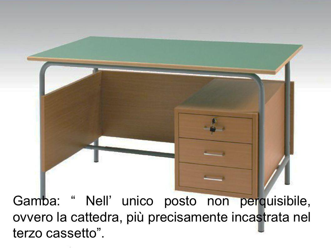 Gamba: Nell' unico posto non perquisibile, ovvero la cattedra, più precisamente incastrata nel terzo cassetto .