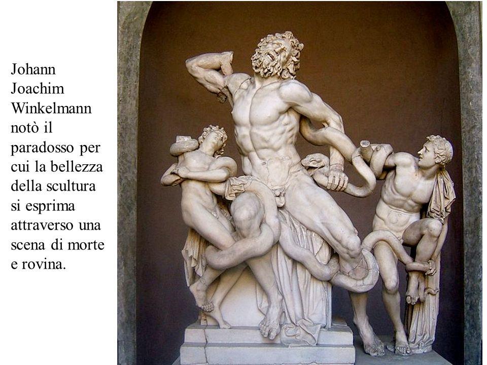 Johann Joachim Winkelmann notò il paradosso per cui la bellezza della scultura si esprima attraverso una scena di morte e rovina.