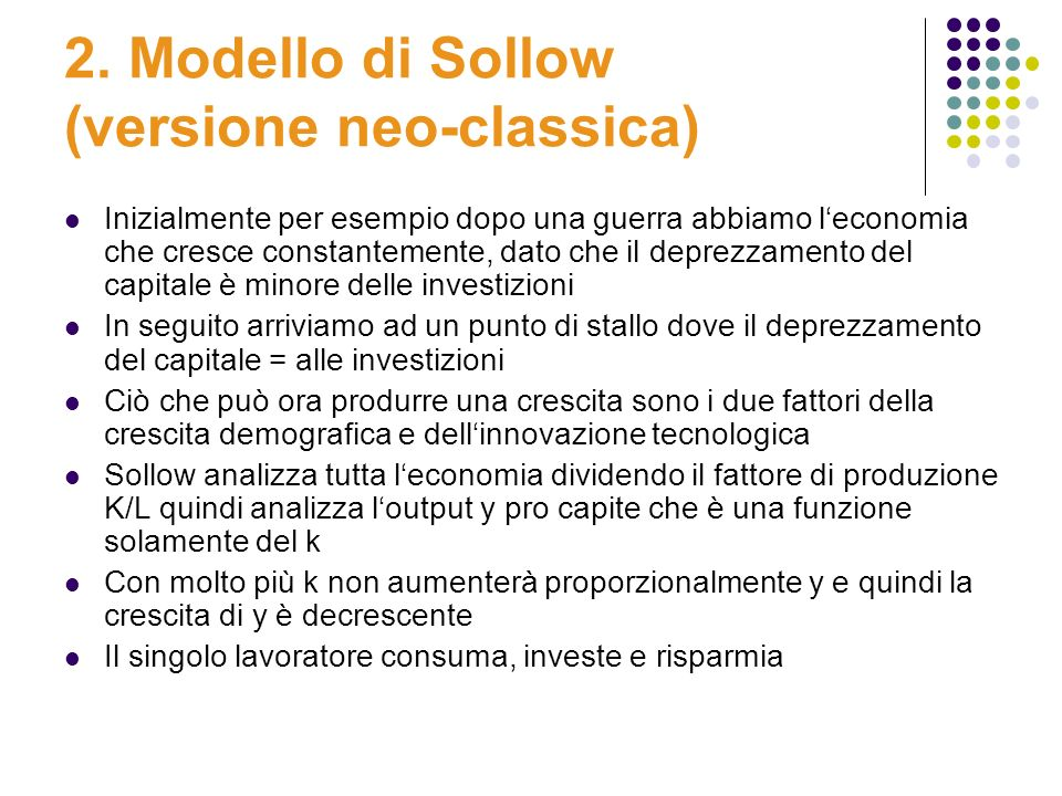 2. Modello di Sollow (versione neo-classica)