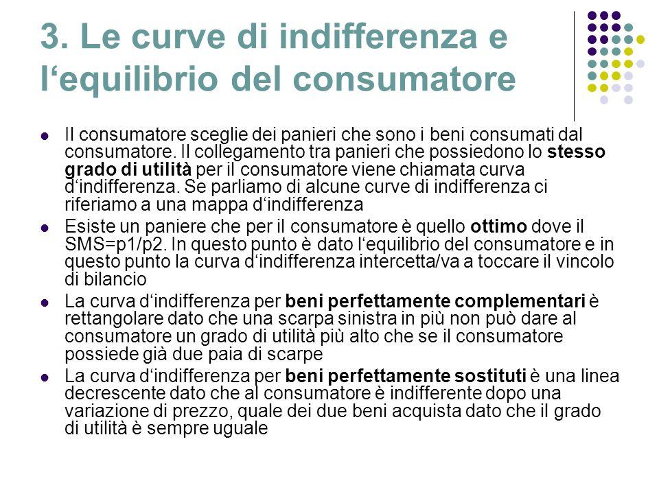 3. Le curve di indifferenza e l'equilibrio del consumatore