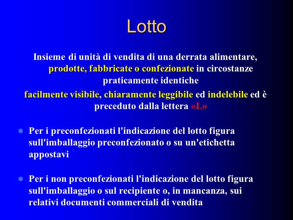 Lotto Insieme di unità di vendita di una derrata alimentare, prodotte, fabbricate o confezionate in circostanze praticamente identiche.