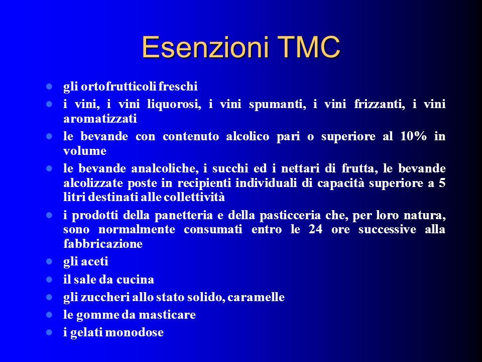 Esenzioni TMC gli ortofrutticoli freschi