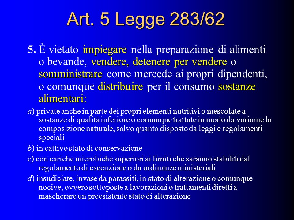 Art. 5 Legge 283/62