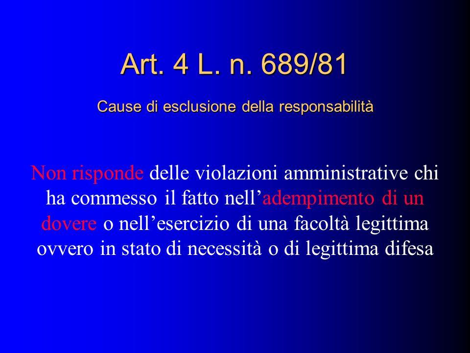 Art. 4 L. n. 689/81 Cause di esclusione della responsabilità