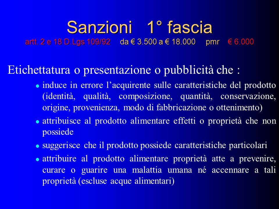 Sanzioni 1° fascia artt. 2 e 18 D. Lgs 109/92 da € 3. 500 a € 18