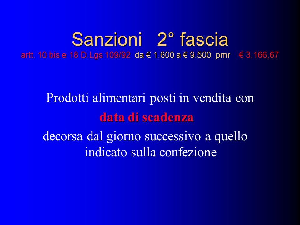 Sanzioni 2° fascia artt. 10 bis e 18 D. Lgs 109/92 da € 1. 600 a € 9