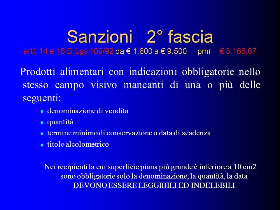 Sanzioni 2° fascia artt. 14 e 18 D. Lgs 109/92 da € 1. 600 a € 9