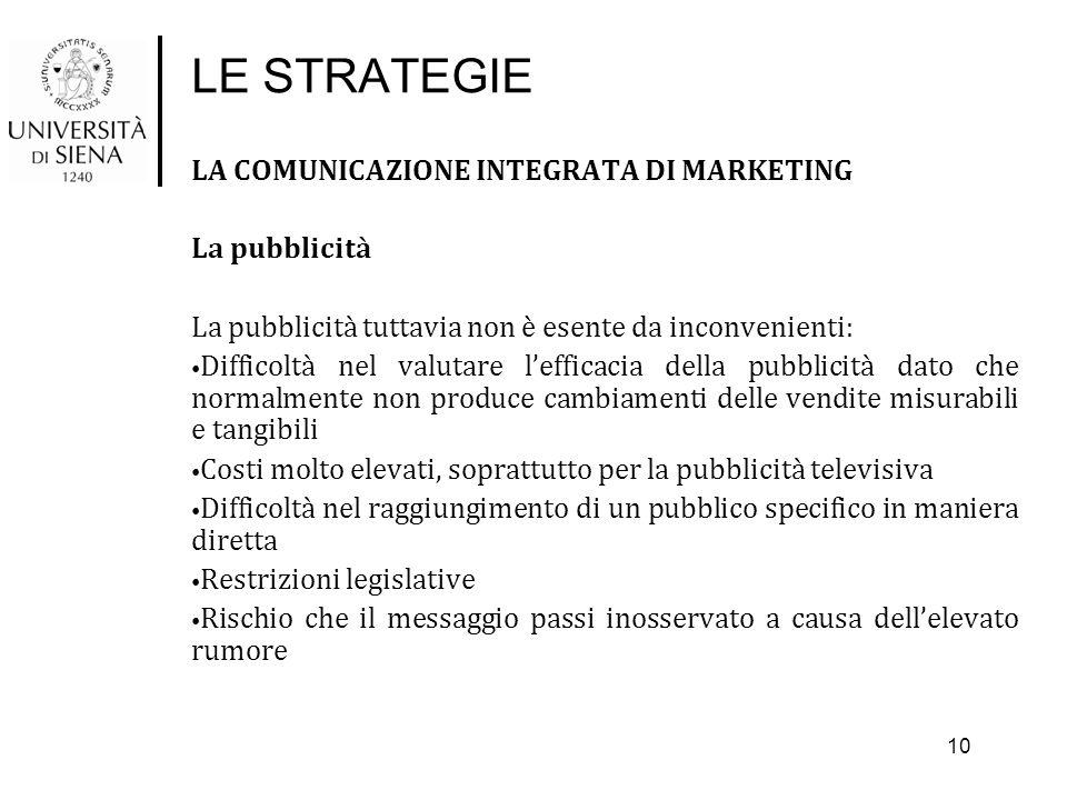LE STRATEGIE LA COMUNICAZIONE INTEGRATA DI MARKETING La pubblicità