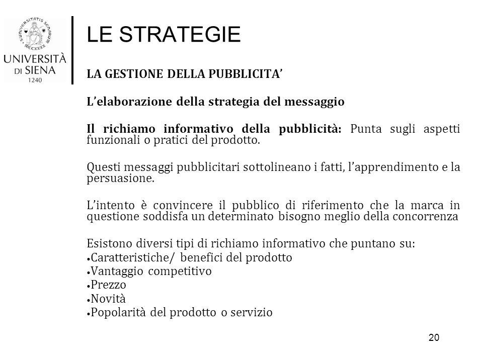 LE STRATEGIE LA GESTIONE DELLA PUBBLICITA'