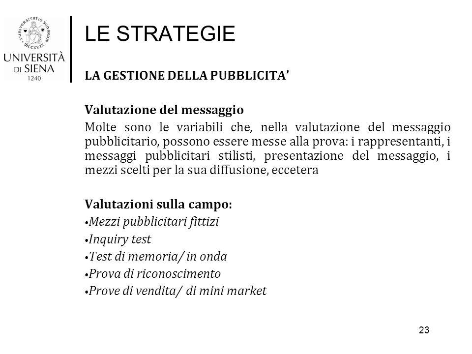 LE STRATEGIE LA GESTIONE DELLA PUBBLICITA' Valutazione del messaggio