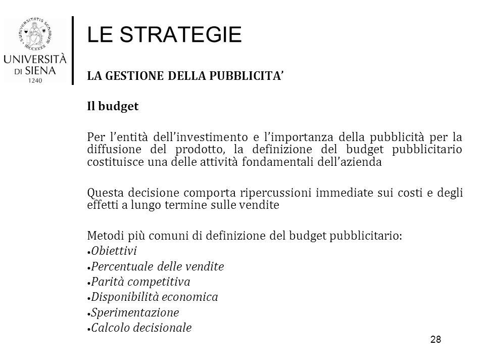 LE STRATEGIE LA GESTIONE DELLA PUBBLICITA' Il budget