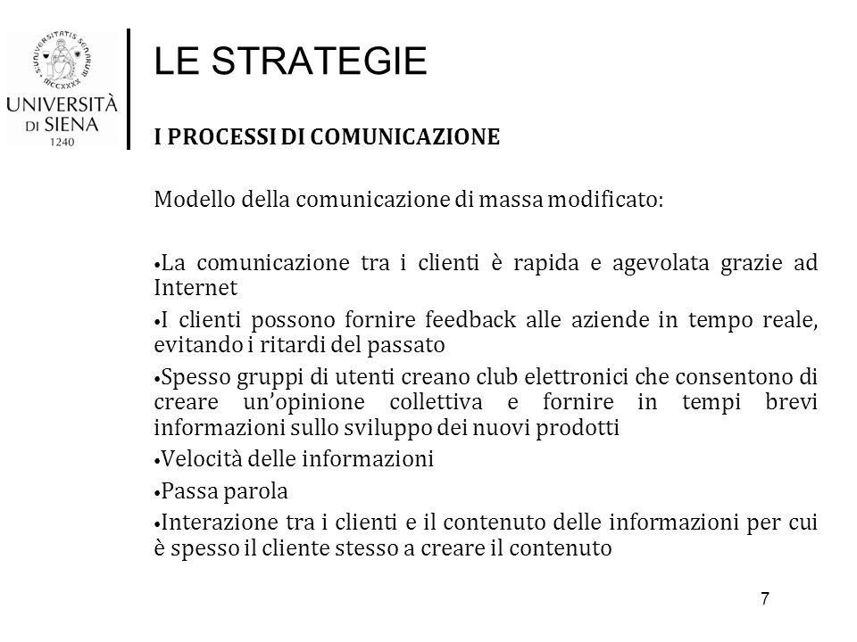 LE STRATEGIE I PROCESSI DI COMUNICAZIONE