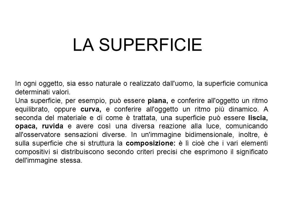 LA SUPERFICIE In ogni oggetto, sia esso naturale o realizzato dall uomo, la superficie comunica determinati valori.
