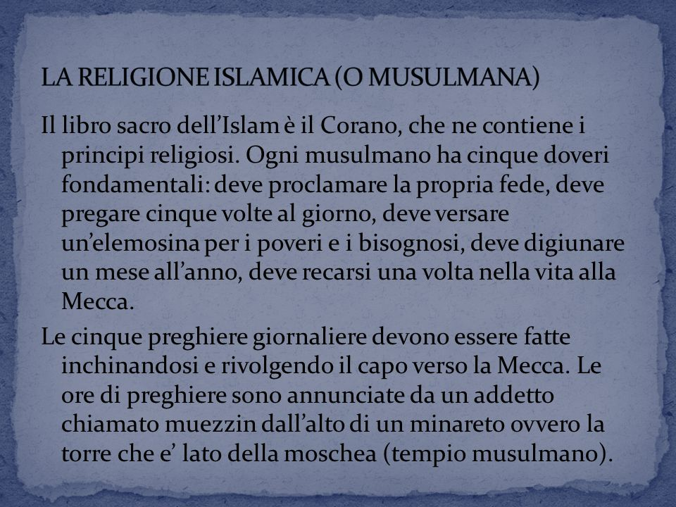 LA RELIGIONE ISLAMICA (O MUSULMANA)
