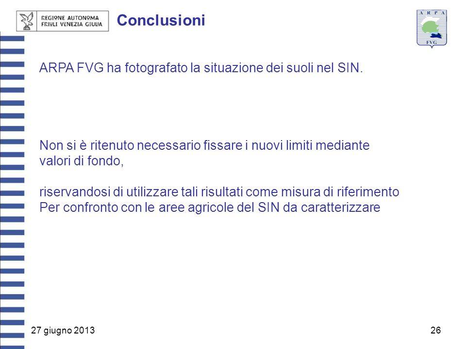 Conclusioni ARPA FVG ha fotografato la situazione dei suoli nel SIN.