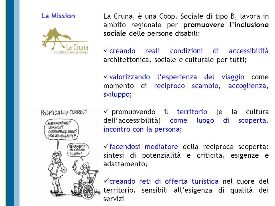 La MissionLa Cruna, è una Coop. Sociale di tipo B, lavora in ambito regionale per promuovere l'inclusione sociale delle persone disabili: