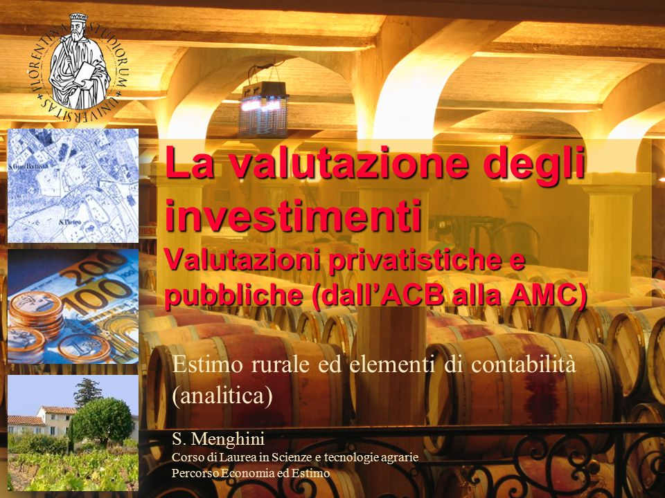 La valutazione degli investimenti Valutazioni privatistiche e pubbliche (dall'ACB alla AMC)