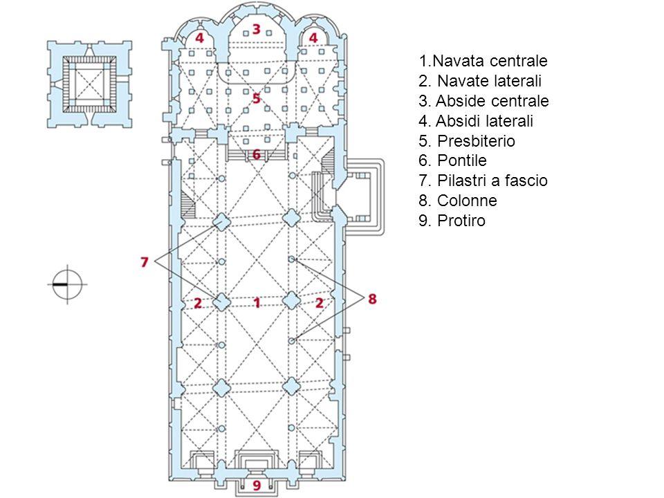 1.Navata centrale 2. Navate laterali. 3. Abside centrale. 4. Absidi laterali. 5. Presbiterio. 6. Pontile.
