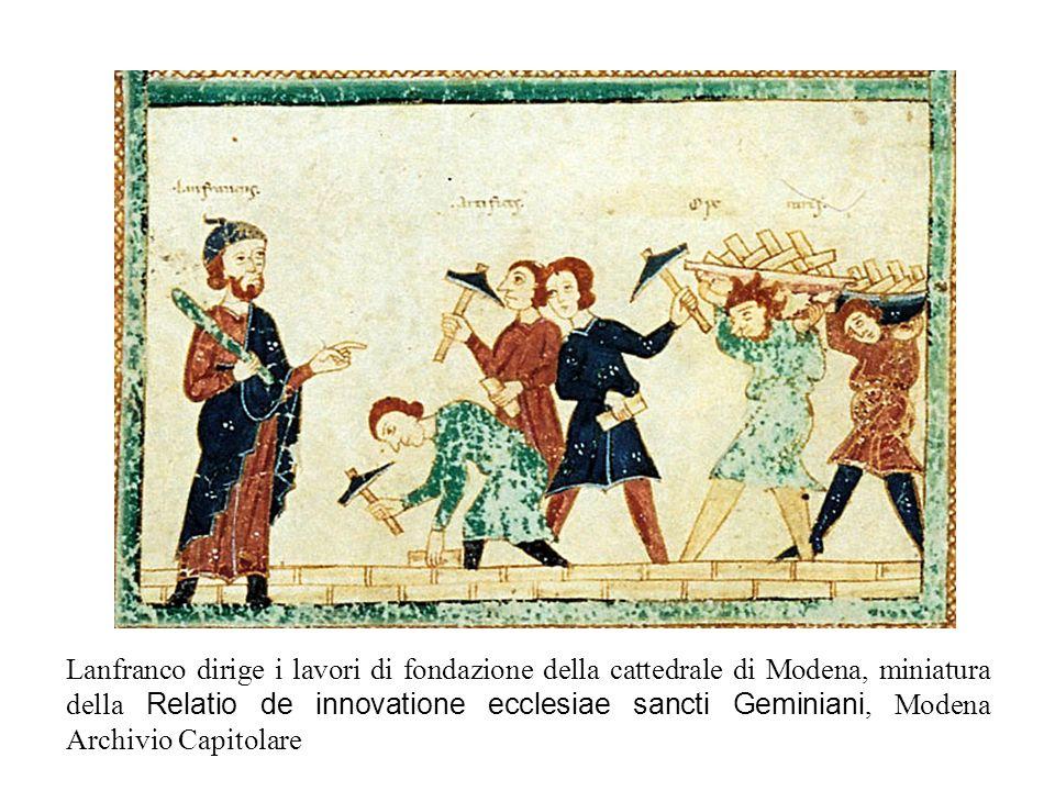 Lanfranco dirige i lavori di fondazione della cattedrale di Modena, miniatura della Relatio de innovatione ecclesiae sancti Geminiani, Modena Archivio Capitolare