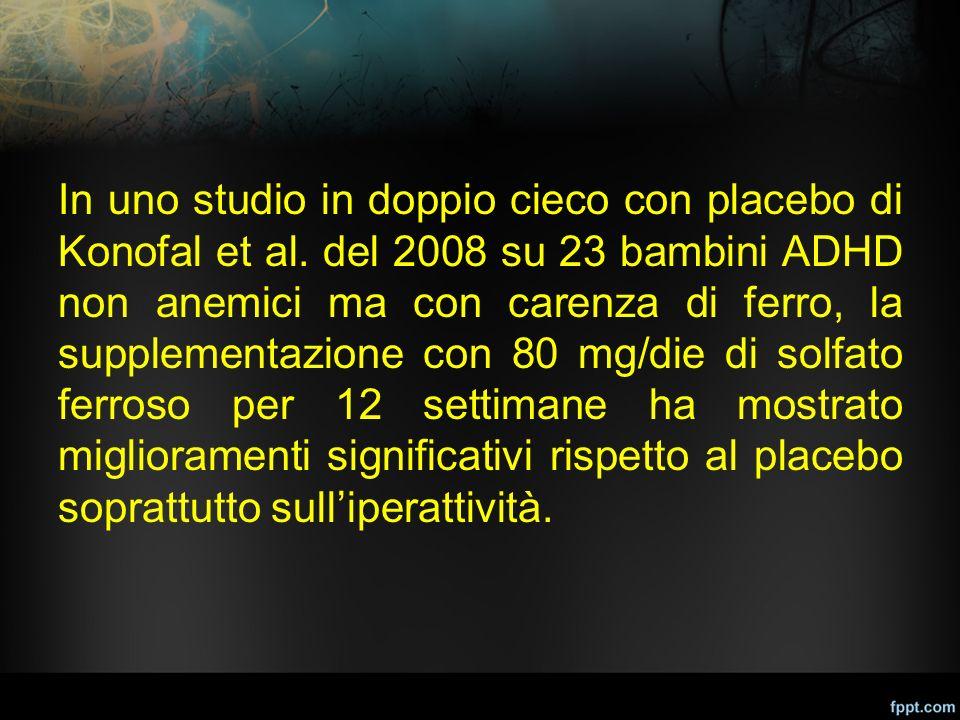 In uno studio in doppio cieco con placebo di Konofal et al