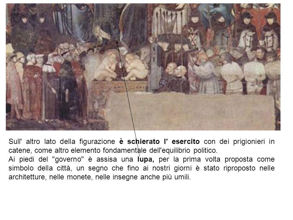 Sull altro lato della figurazione è schierato l esercito con dei prigionieri in catene, come altro elemento fondamentale dell equilibrio politico.