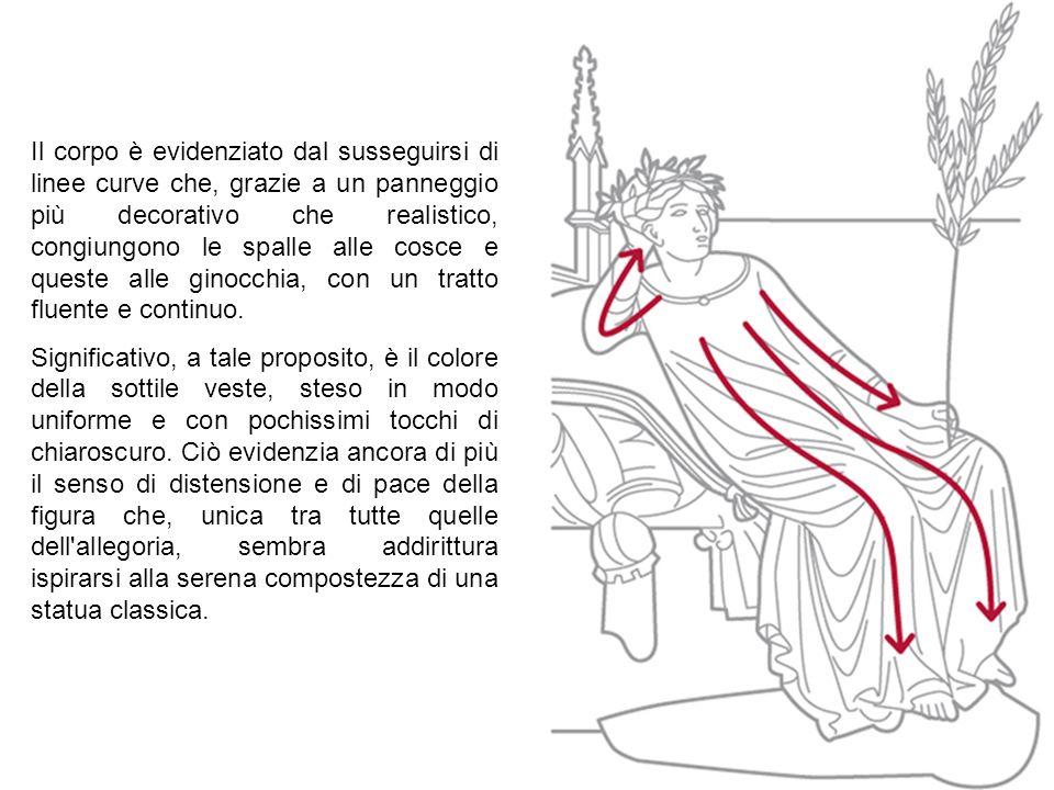 Il corpo è evidenziato dal susseguirsi di linee curve che, grazie a un panneggio più decorativo che realistico, congiungono le spalle alle cosce e queste alle ginocchia, con un tratto fluente e continuo.