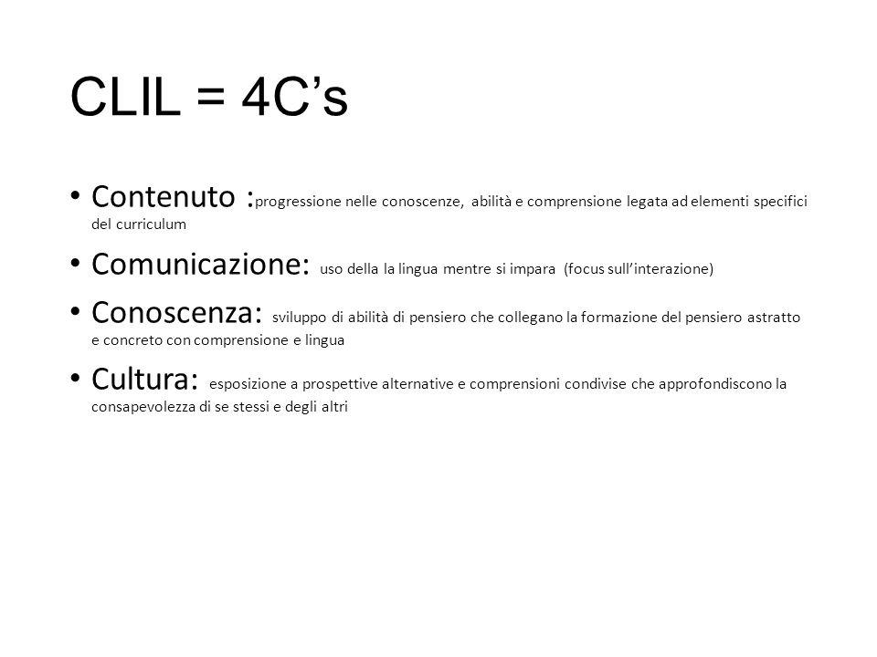 CLIL = 4C's Contenuto :progressione nelle conoscenze, abilità e comprensione legata ad elementi specifici del curriculum.