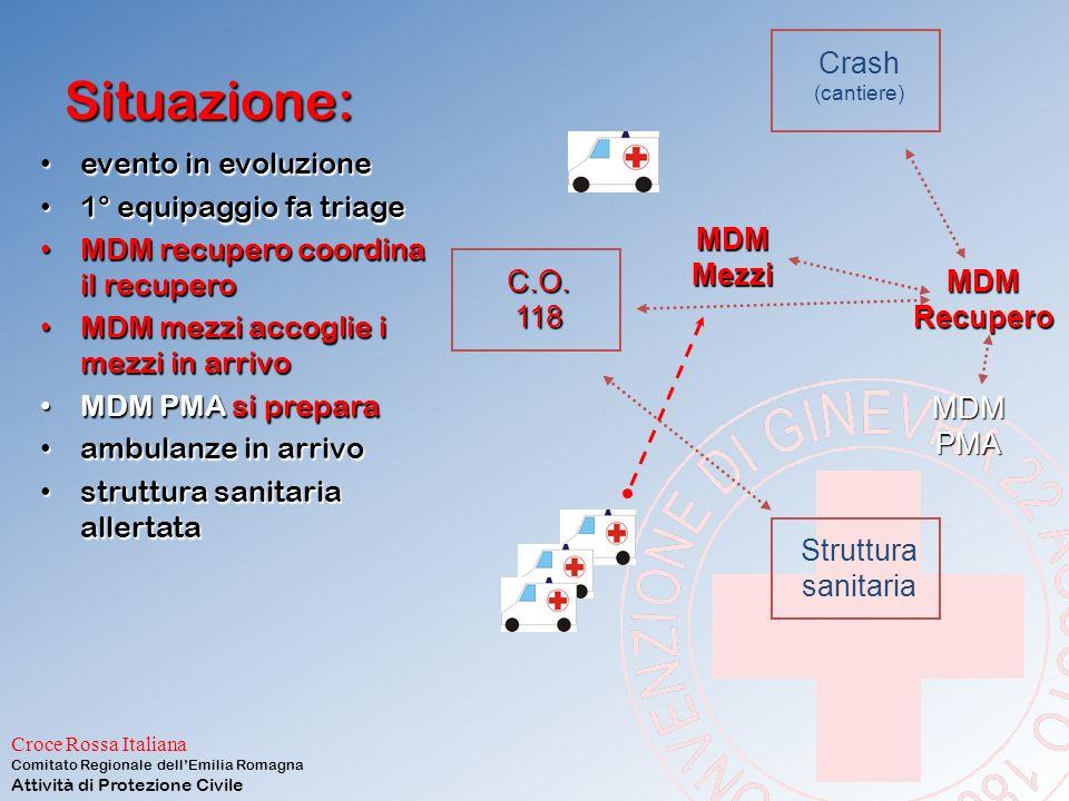 Situazione: Crash evento in evoluzione 1° equipaggio fa triage