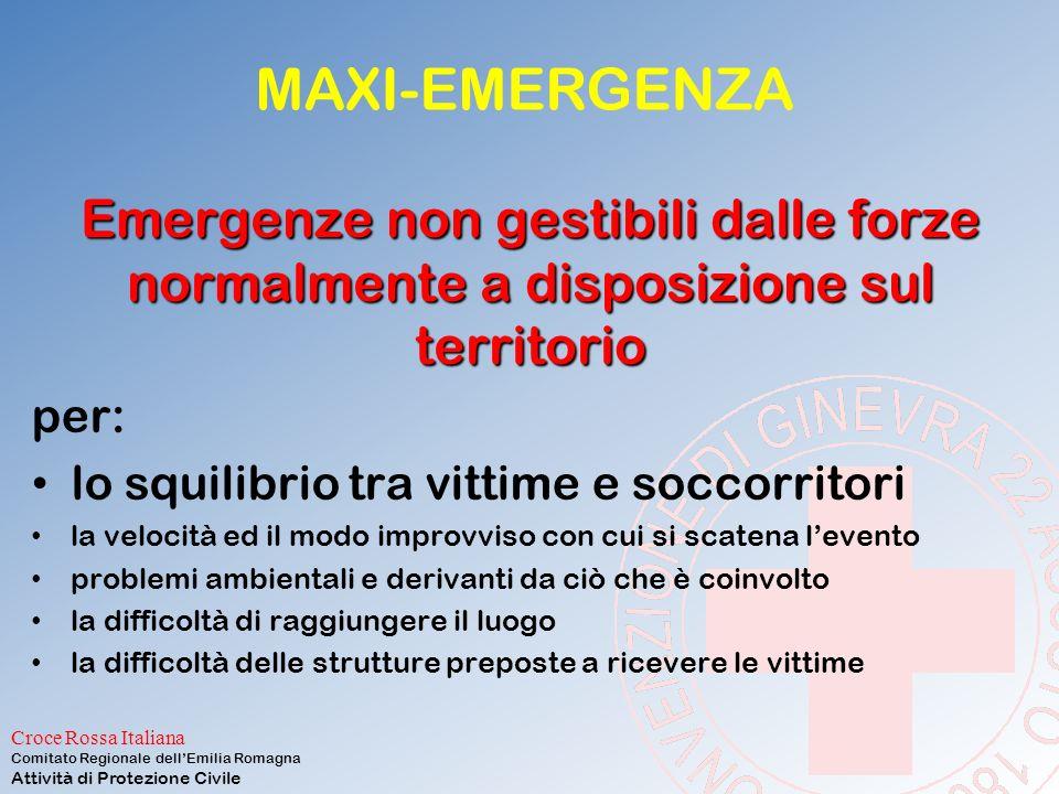 MAXI-EMERGENZA Emergenze non gestibili dalle forze normalmente a disposizione sul territorio. per: