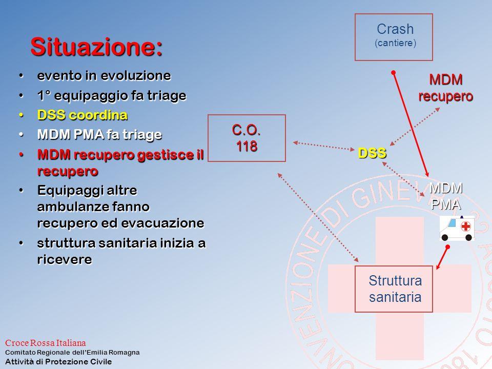 Situazione: Crash evento in evoluzione MDM 1° equipaggio fa triage