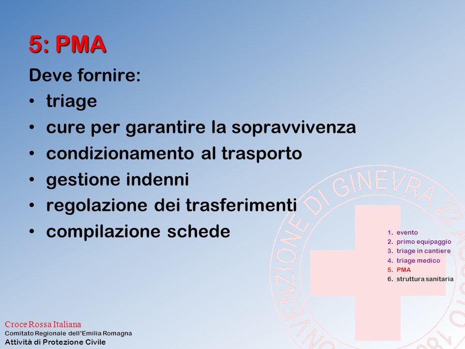 5: PMA Deve fornire: triage cure per garantire la sopravvivenza