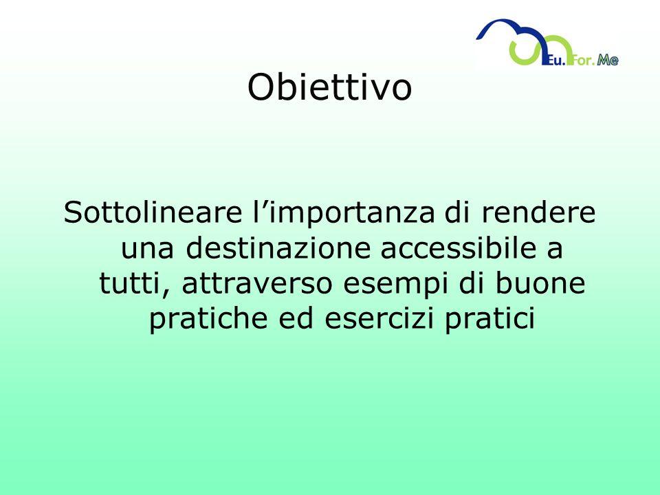 Obiettivo Sottolineare l'importanza di rendere una destinazione accessibile a tutti, attraverso esempi di buone pratiche ed esercizi pratici.