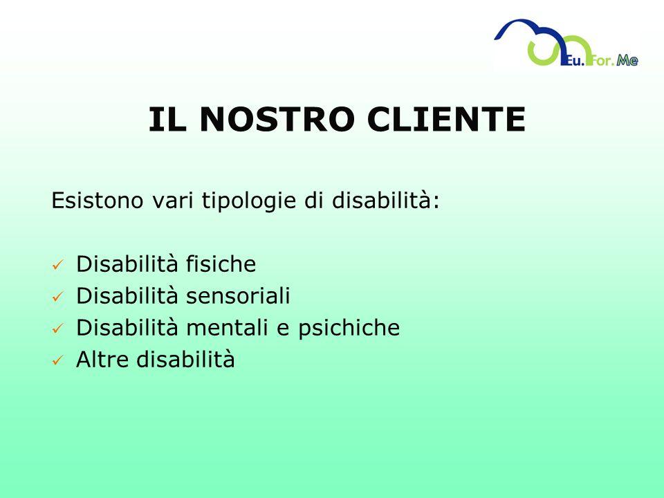 IL NOSTRO CLIENTE Esistono vari tipologie di disabilità: