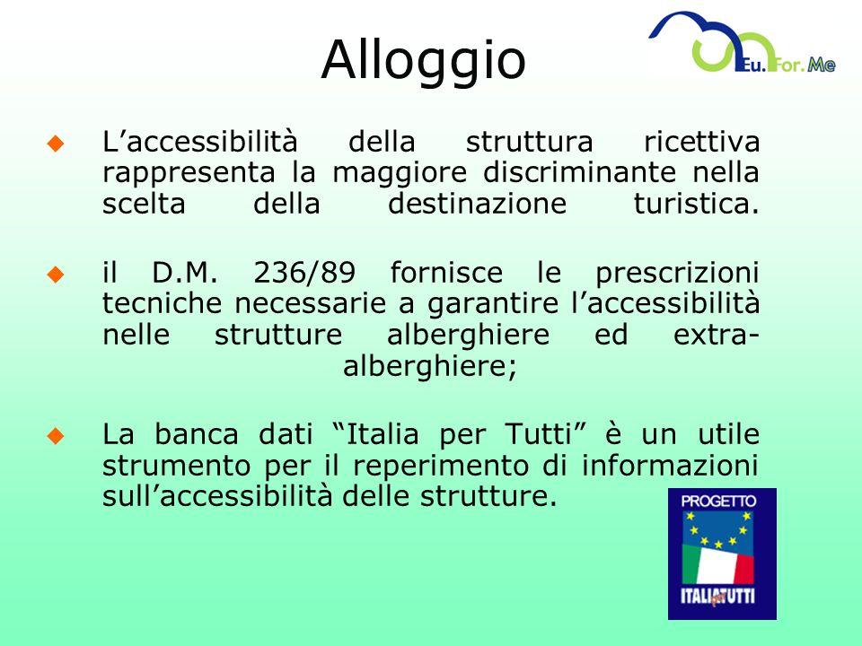 Alloggio L'accessibilità della struttura ricettiva rappresenta la maggiore discriminante nella scelta della destinazione turistica.