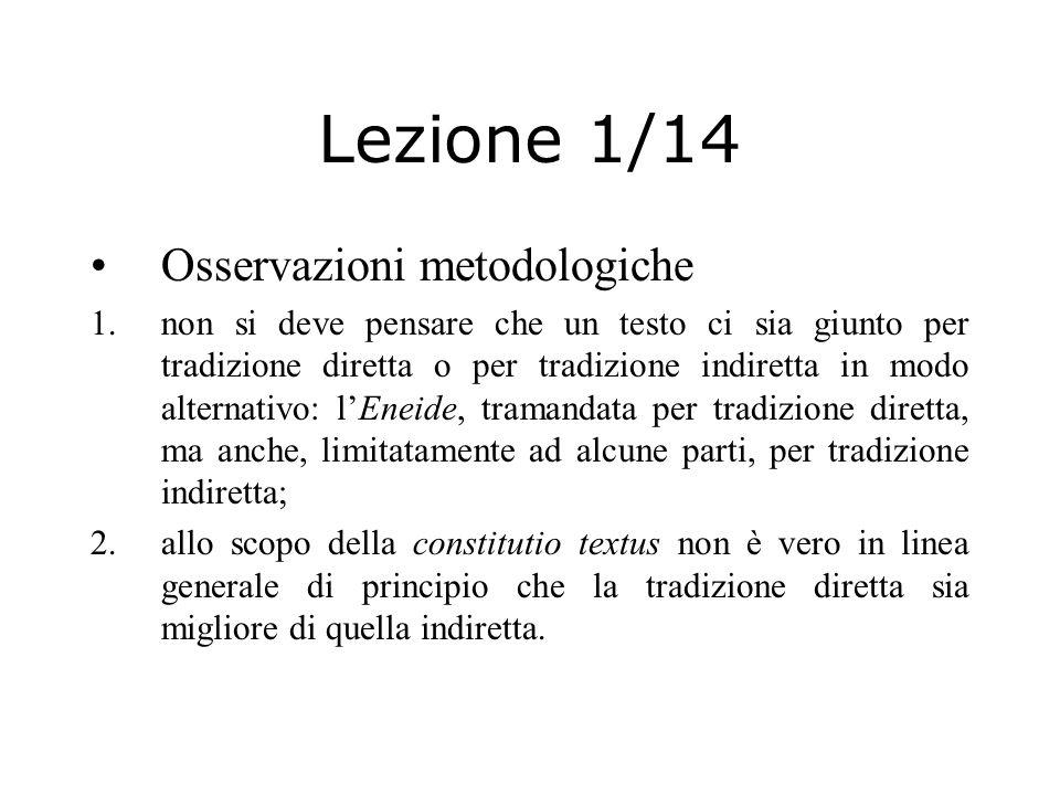 Lezione 1/14 Osservazioni metodologiche