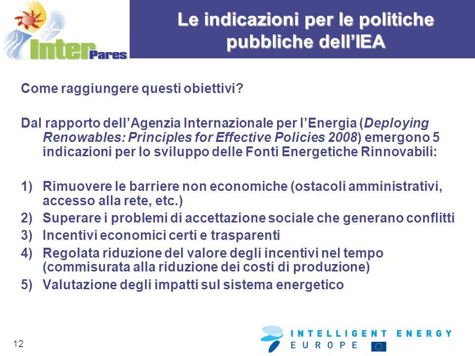 Le indicazioni per le politiche pubbliche dell'IEA