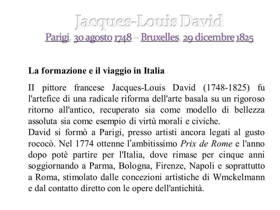 La formazione e il viaggio in Italia