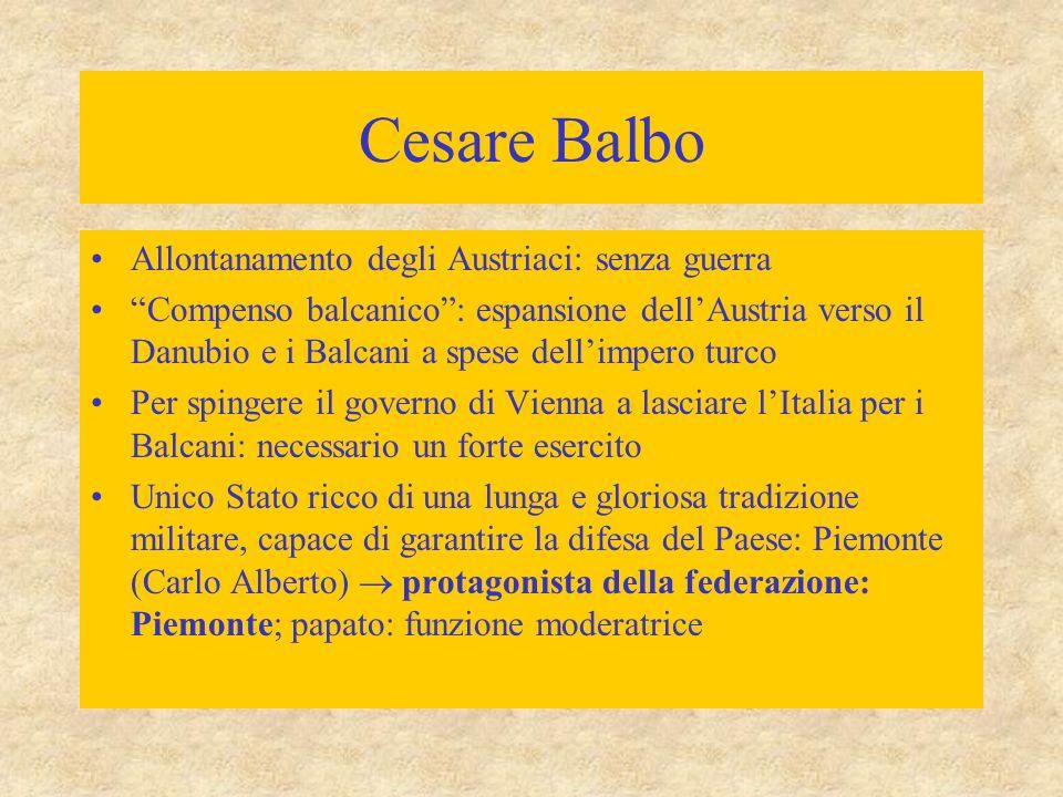 Cesare Balbo Allontanamento degli Austriaci: senza guerra