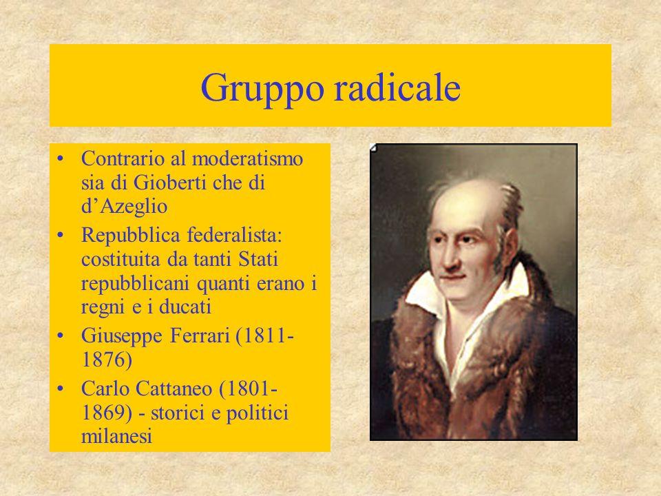 Gruppo radicale Contrario al moderatismo sia di Gioberti che di d'Azeglio.