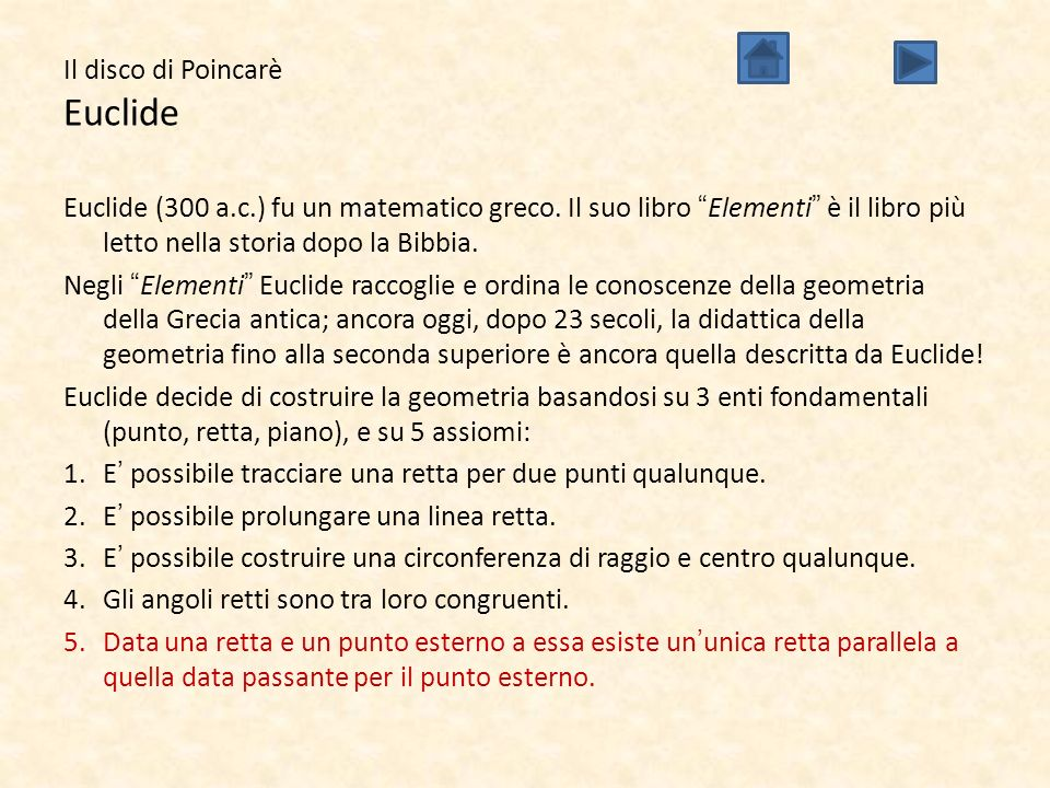 Il disco di Poincarè Euclide