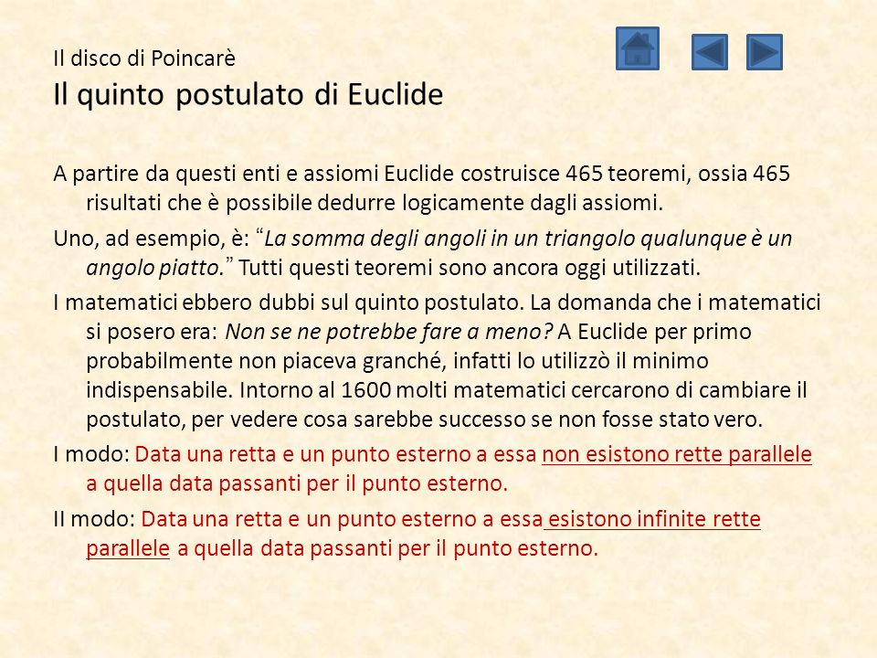 Il disco di Poincarè Il quinto postulato di Euclide